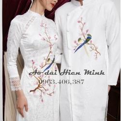 Áo dài cưới cặp đôi màu trắng thêu tay cao cấp